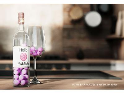 Hallo Dribbble! hello dribbble wine coronarender design illustration 3d art 3dsmax