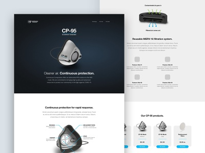 WIP: N95 mask marketing site minimal modern blue covid n-95 cp95 cp-95 web solo page marketing web design continuous composites mask n95 work in progress