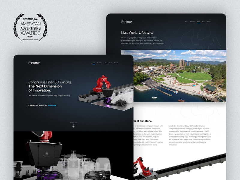 Continuous Composites Website - 2020 Silver ADDY Award award winning website b2b continuous composites cc3d cf3d web flow 3d dark theme blue american advertising awards addy addy2020