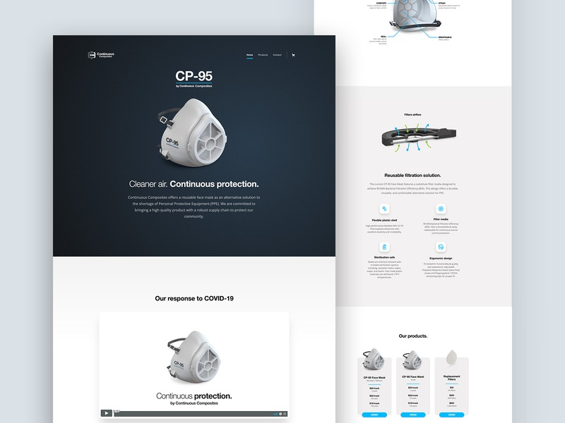 Our response to COVID-19 (CP-95 Website Design) continuous composites mask face mask light dark blue web design website covid19 covid-19 cp95