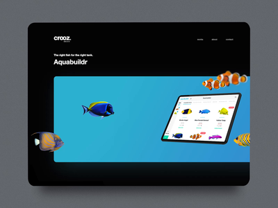 portfolio website aquabuildr hero crooz media blue aquarium touch screen identity brand interface ux ui uidesign uxdesign fish portfolio website croozmedia aquabuildr