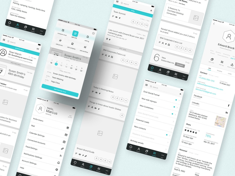 Lo-Fidelity Wireframes - Smash Solutions cyan teal blue portfolio crooz media interface uidesign ui uxdesign lo-fidelity wireframes crm smash solutions smash