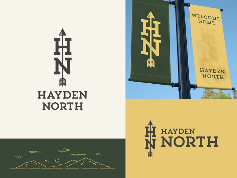 Hayden North Identity Design logo crooz media mountains flag mark crest arrow green yellow hayden community development housing branding identity
