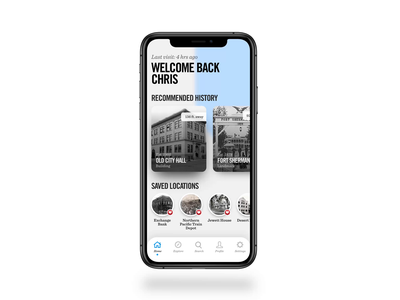 Historik App - Home Screen WIP history rediscovered crooz media ui ux ux design mobile interaction design old blue history historik prototype add design interaction app work in progress