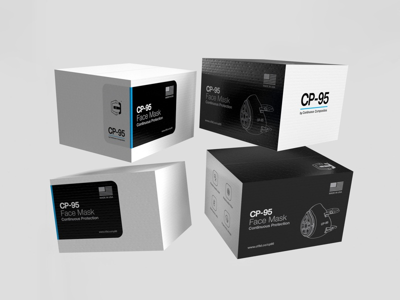 Packaging design w/ business goals in mind adobe dimension dimension covid n95 cp95 mask face mask packaging design on-brand brand continuous composites shipping box packaging business goals
