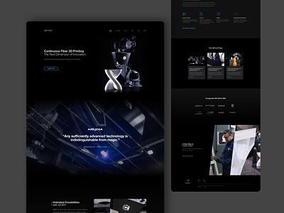 Continuous Composites - Home Page Design dark dark theme black cf3d continuous composites web page landing page home home page website design