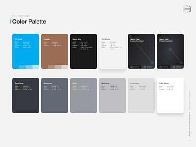 Brand Colors - Style Guidelines branding design design system guide style guide off-white gunmetal copper cyan colors brand colors cf3d continuous composites