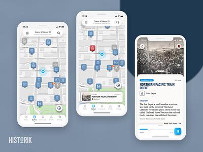 Historik App - Explore Map to History Card interface bookmark