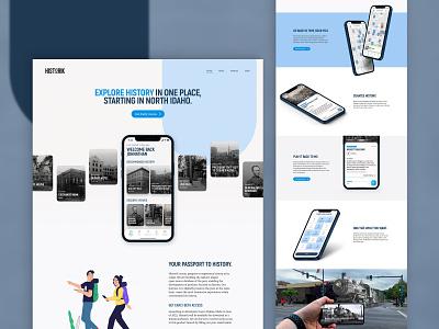 Historik - Website Concept v1.0 ui sky blue red blue early access early mobile app app app website historik history wip web web design concept website