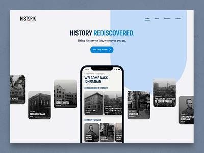 Historik Website - Home Page Loading white red blue history historik mobile hero home page home site web design web website
