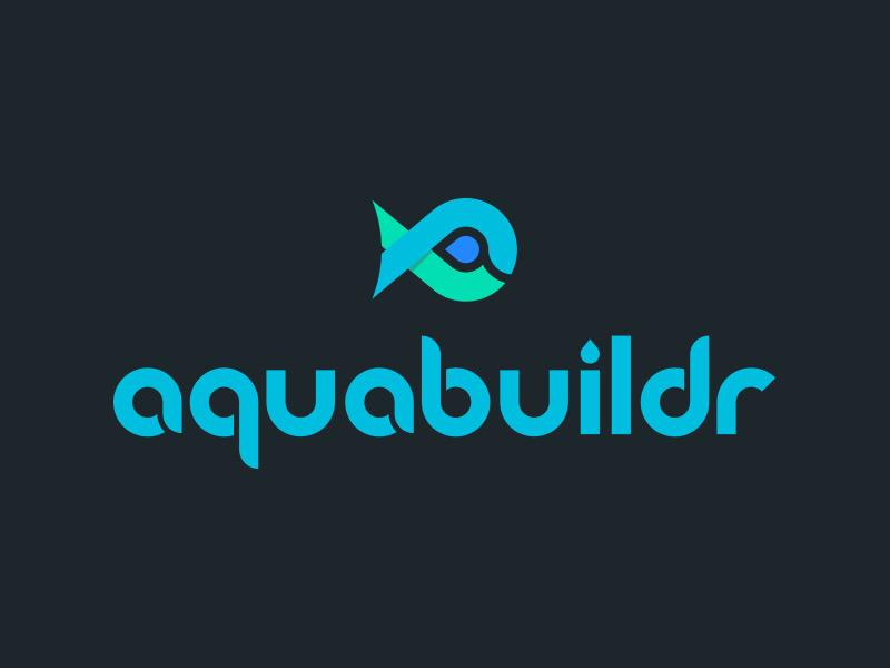 Aquabuildr Identity teal blue fish tank aquarium aquabuildr identity logo