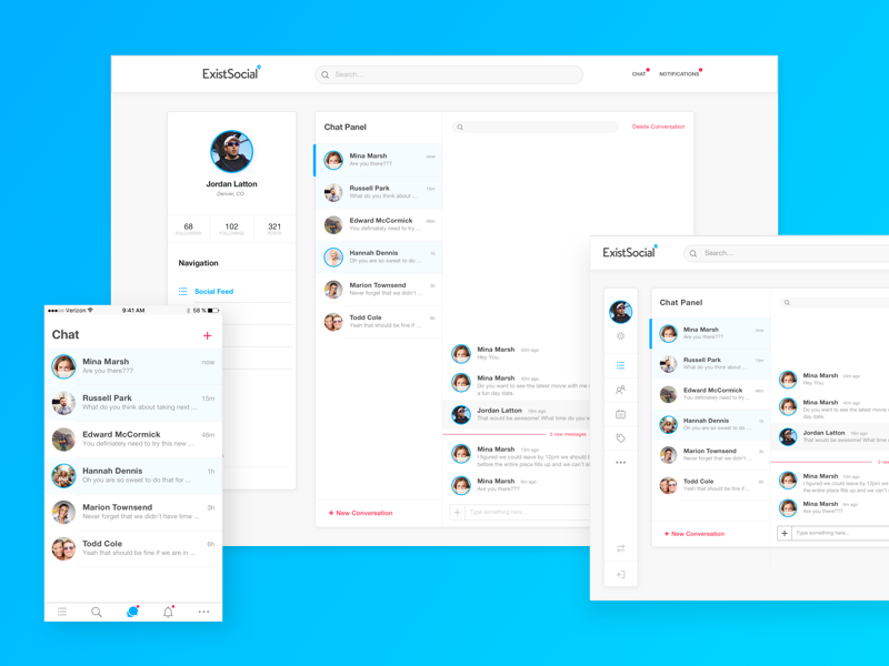 Exist Social - Adaptive Chat white label dashboard tablet mobile app native adaptive crooz media existsocial social social network chat