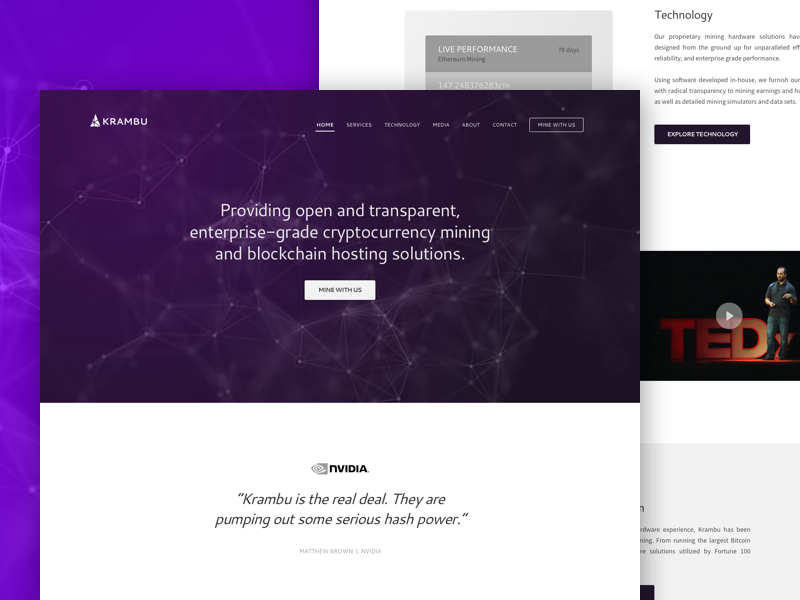 Krambu Crypto Mining - Website Wireframe mining purple serious enterprise crooz media concept wireframe website krambu crypto