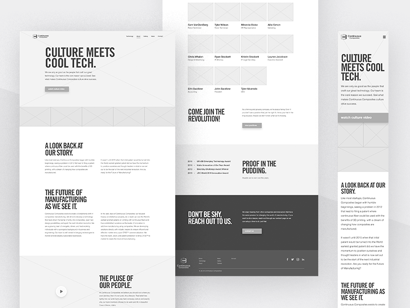 Continuous Composites Website v2 - About Wireframing mobile desktop blocking wireframing about website