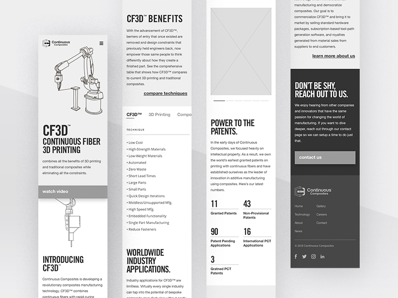 Continuous Composites Website v2 - Tech Mobile Wireframing adaptive responsive blocking wireframe wireframing mobile technology website