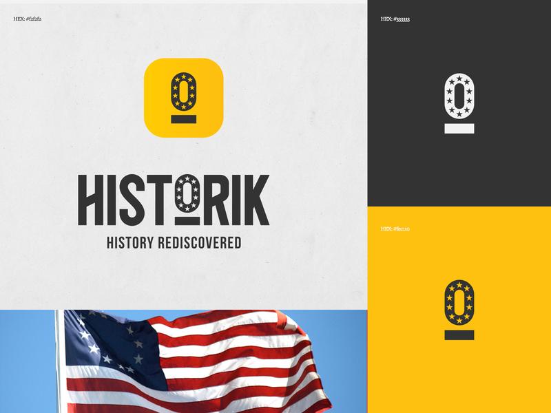 Historik Identity & App Icon application ar exploration history rediscovered history america app history app historik