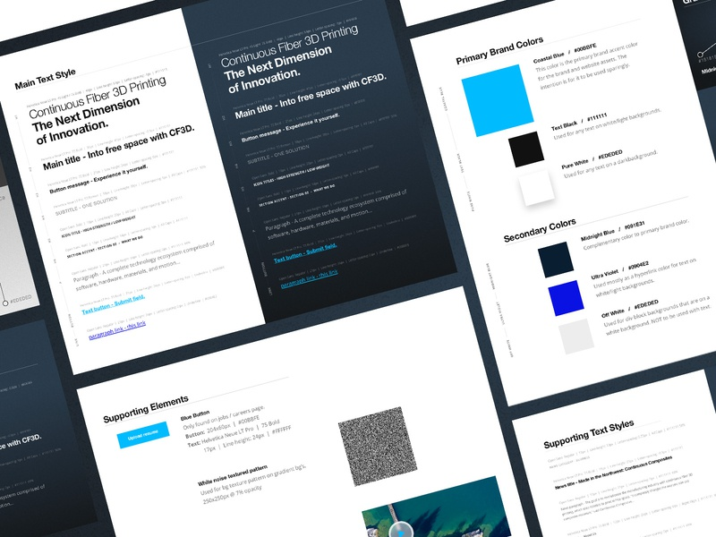 Continuous Composites Website Style Guide cf3d future of manufacturing webflow web design guidelines guide style guide website
