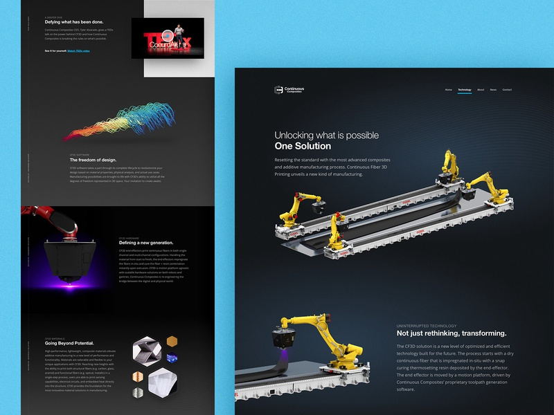 Continuous Composites Website - Tech Page composites continuous composites cf3d 3d printing tech page technology website web manufacturing design page home theme dark printing 3d