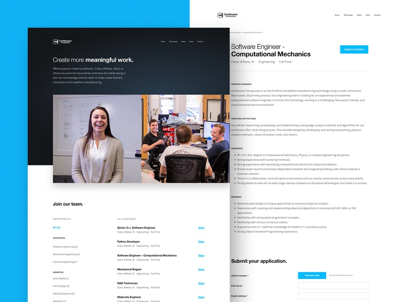 Continuous Composites Website - Careers Page cms webflow website web desktop materials fiber composites manufacturing careers page positions marketing cf3d employment jobs careers
