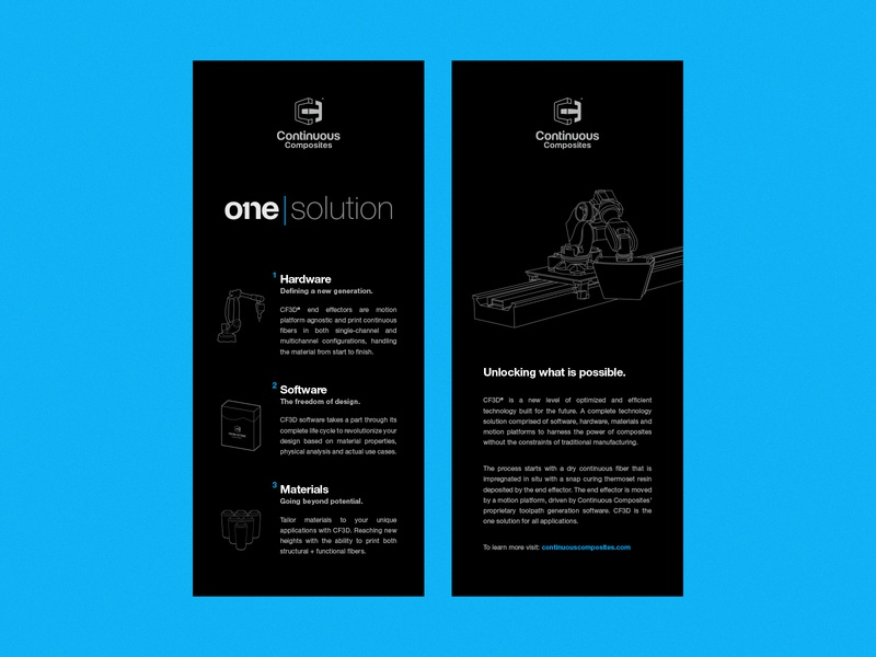 Continuous Composites - One Solution Rack Cards flyer design design language brand marketing cf3d composites continuous composites handouts flyers rack rack cards