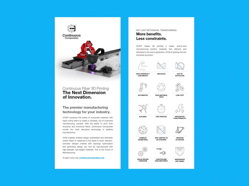 Continuous Composites - Business Rack Cards rack business design language brand handouts cf3d continuous composites blue white flyers marketing rack cards