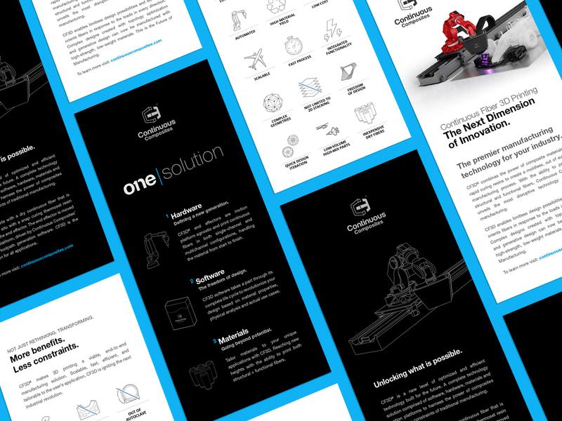 Continuous Composites - Rack Cards white blue brand cf3d continuous composites flyers handouts marketing rack rack cards