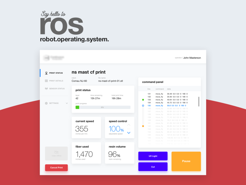 Robot Operating System - Control Interface touch screen ipad tablet controller red user flows ux ui interface robots robot ros robot operating system