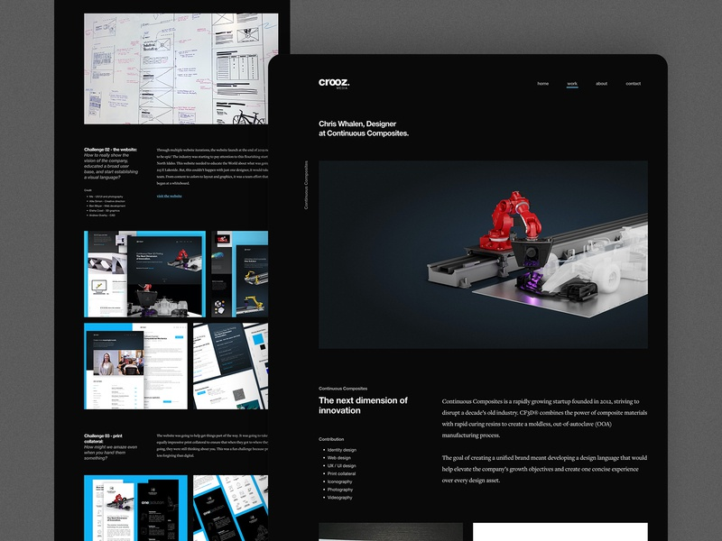 WIP: Personal Website Project Page work in progress personal cf3d continuous composites portfolio portfolio site site website black dark interface