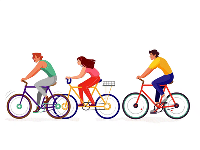 Cyclists road motion illustrator veopen weekends walk relaxation colors yellow blue red people illustration animation agency sport riding person people bicycle cyclists