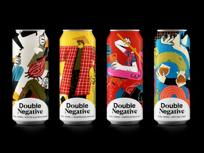 Double Negative Brewery illustrated packaging beer label packagingdesign packaging beer design brand illustration illustration