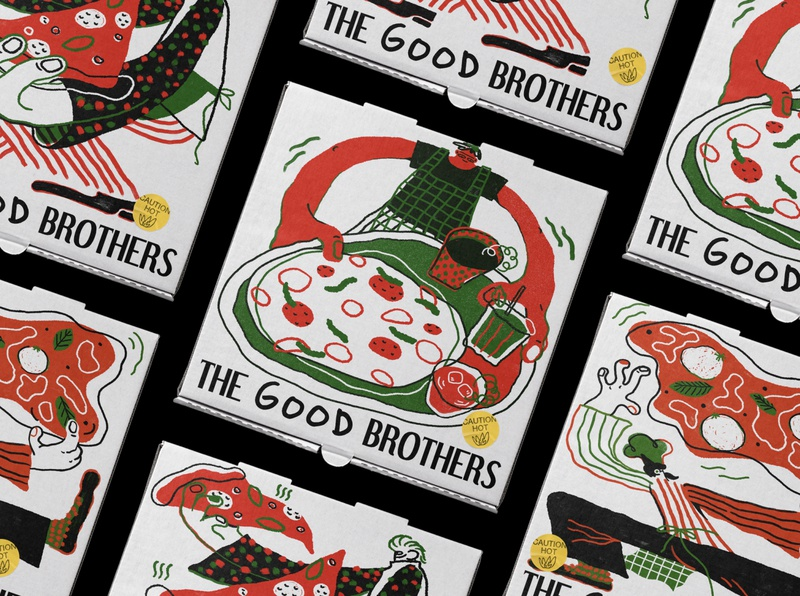 The Good Brothers Pizza Box Illustration