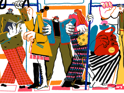 Daily Commute bold colourful character design crowd commute train illustration brand illustration editorial illustration