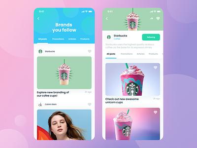 Social App For Brands feed post network social brand purple dashboard ux ui
