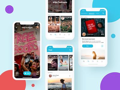Social Mobile App tiktok stories messaging post instagram snapchat social mobile dashboard