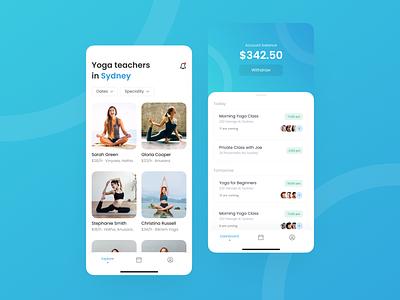 Yoga Marketplace Dashboard App management appointment calendar meeting training blue dashboard yoga