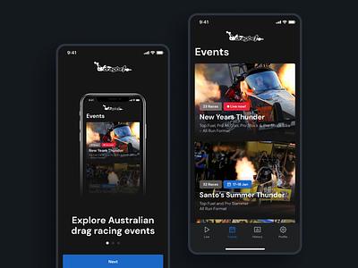 Drag Racing App UI events game gambling betting explore onboarding car dark racing