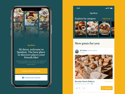 Restaurant Recommendations App onboarding explore yelp post sharing social recommendation restaurants places