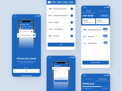 Charity Donation Mobile App transaction money finance onboarding dashboard blue donate charity