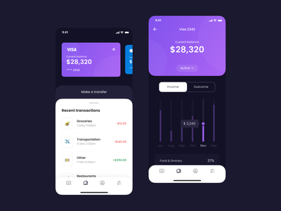 Mobile Banking App UI payment wallet banking history transaction stats cards dashboard finance bank