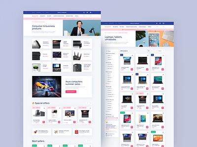 E-Commerce Website UI electronic cart shop desktop retail tech website e-comerce