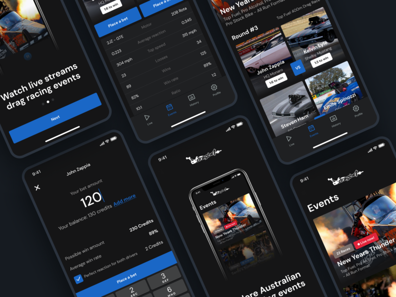 Drag Racing Betting Mobile App events theme dark racing design figma software coding app uxdesign ux ui mobile app drag racing