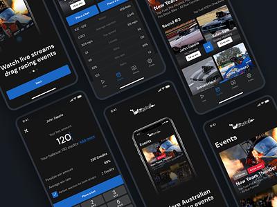 Drag Racing Betting Mobile App events theme dark racing design figma software coding app uxdesign ux ui mobile app drag racing