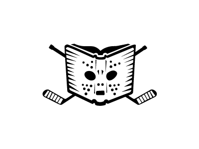 Hockey Reader B illustration logo hockey book sticks goalie