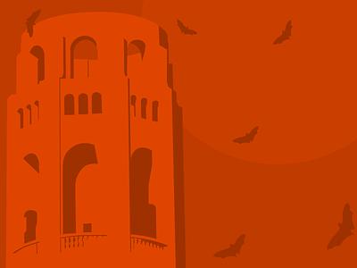 Coit Tower illustration signage halloween