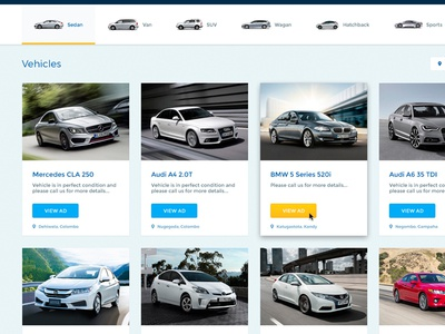 Vehicle Search ads vehicles cars portal classified website ux ui