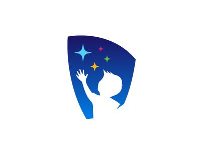 Reaching for Wisdom reaching kid stars identity logo brandmark wisdom
