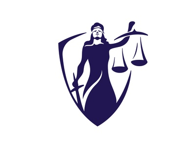Lady of Justice crest shield women lady. justice law branding logo
