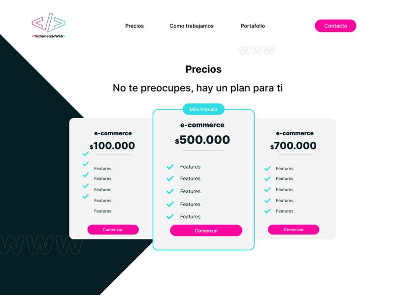 TuComercioWeb / Pricing adobe illustrator figma figmadesign ui ux webdesign pricing pricing page website web