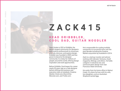 Zack415.com css html one page homepage personal site