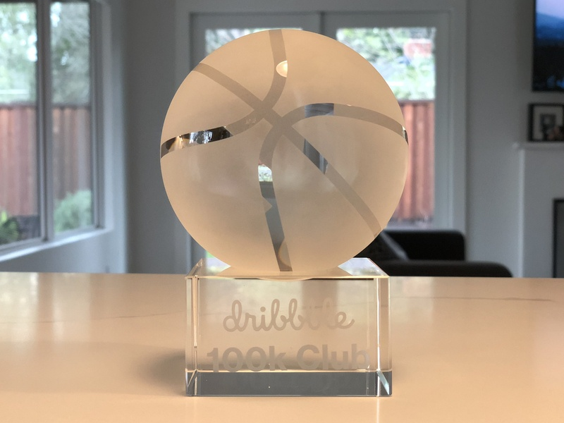 Dribbble 100k Club Trophy ball glass 100k youve got mail paper weight 6lbs crystal basketball trophy dribbble
